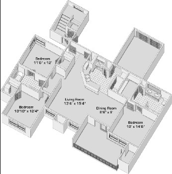 1,322 sq. ft. C1PH1G floor plan