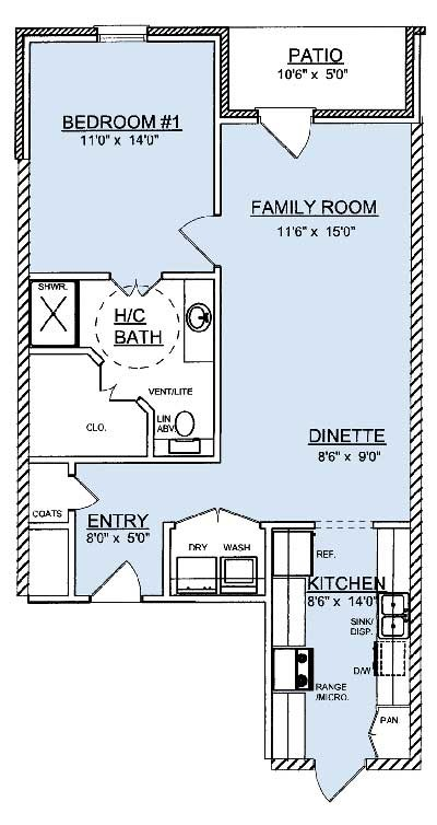 880 sq. ft. A2 floor plan