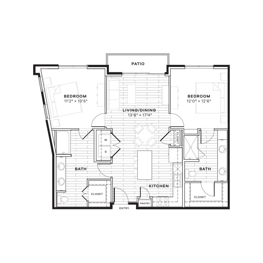 1,125 sq. ft. 2C floor plan