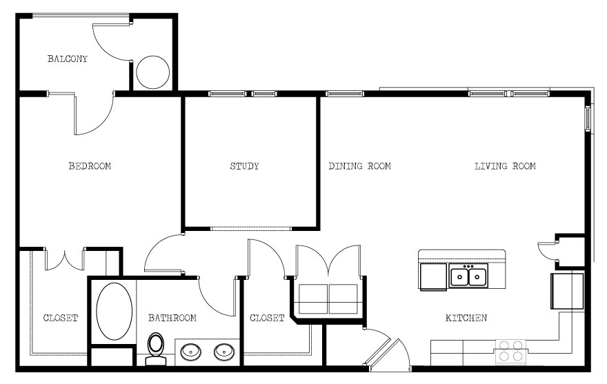 940 sq. ft. B/993 floor plan
