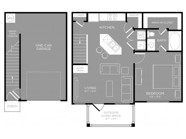 750 sq. ft. Aster floor plan
