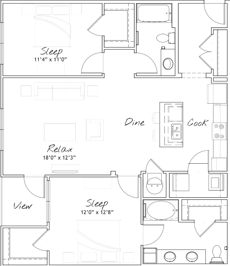 1,219 sq. ft. B3 floor plan