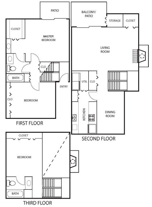 1,617 sq. ft. C2 Tri-Level floor plan