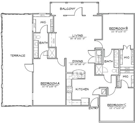 1,448 sq. ft. floor plan