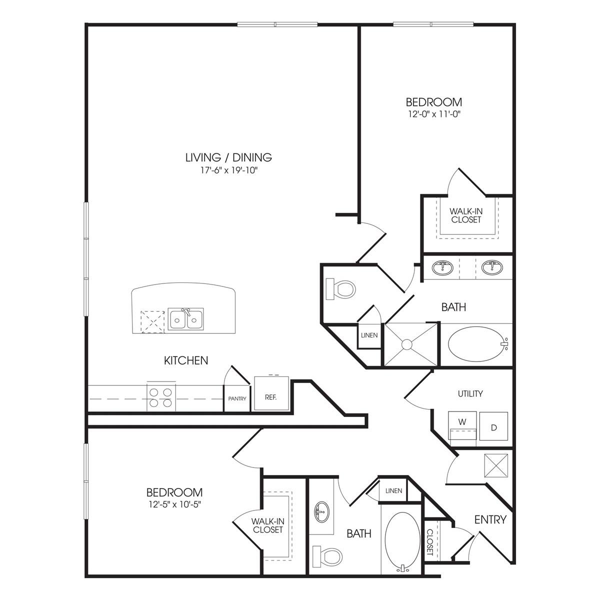 1,360 sq. ft. Portobello Road floor plan
