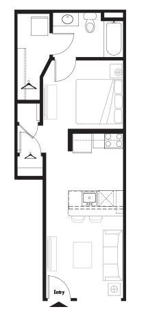 525 sq. ft. Courtyard floor plan