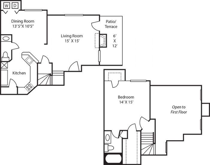 910 sq. ft. A3 floor plan