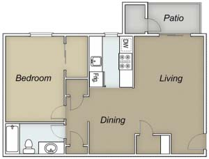 758 sq. ft. A/Dominican floor plan