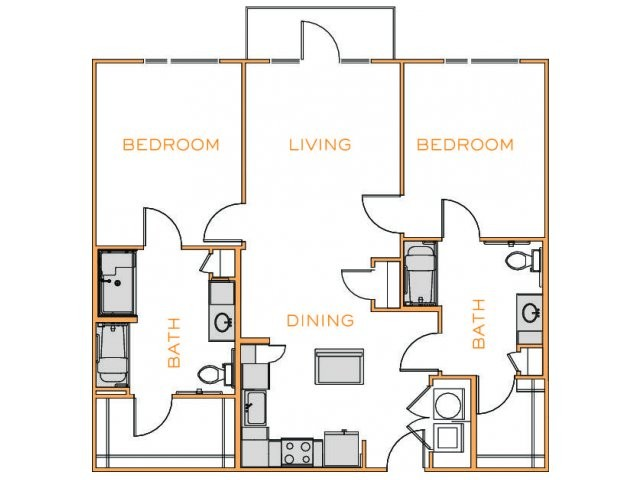 1,170 sq. ft. Hickory 2 floor plan