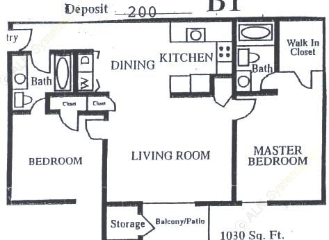 1,030 sq. ft. B-2 floor plan