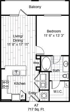 717 sq. ft. A7 floor plan