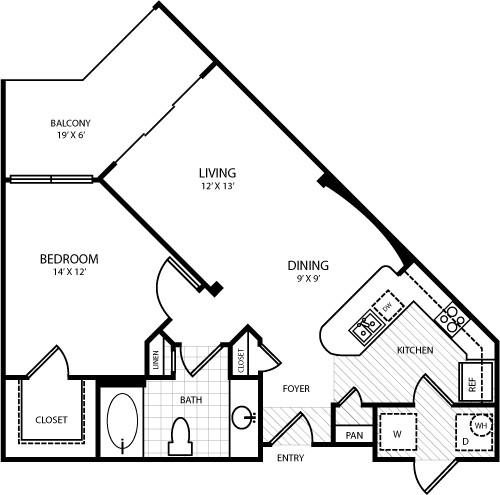 753 sq. ft. A2 floor plan