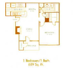 689 sq. ft. A4 floor plan