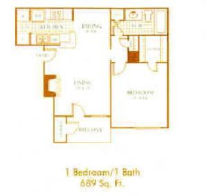 689 sq. ft. A4 floor plan