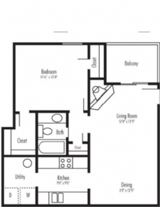 664 sq. ft. Ribbon sr floor plan