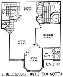 900 sq. ft. Cypress floor plan