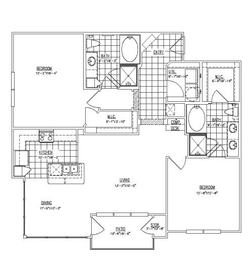 1,304 sq. ft. B2A floor plan