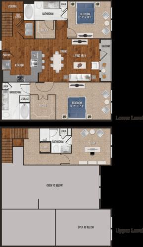 1,629 sq. ft. C1-M floor plan