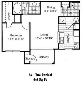 646 sq. ft. to 655 sq. ft. A2 floor plan