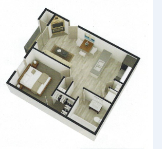 528 sq. ft. A-A2 floor plan