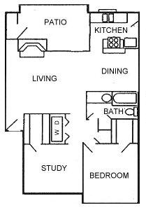 897 sq. ft. Exec floor plan