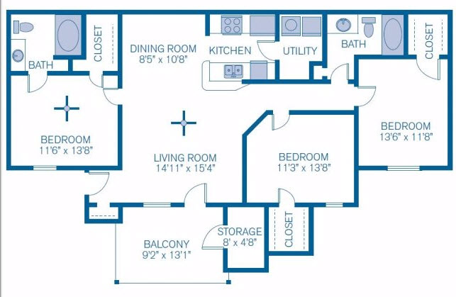 1,293 sq. ft. to 1,467 sq. ft. Grand Cypress floor plan