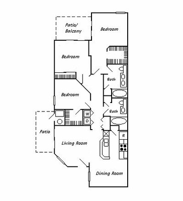 1,285 sq. ft. 60% floor plan
