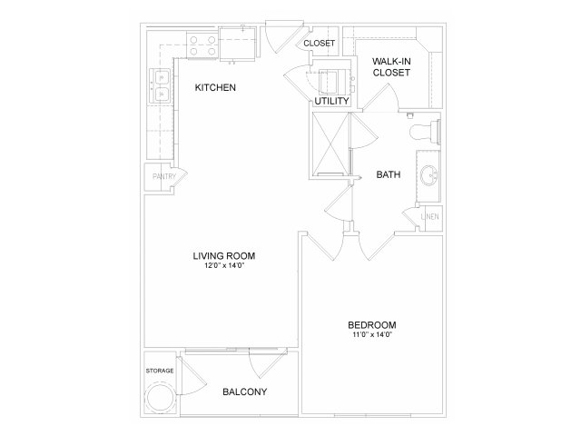 680 sq. ft. A2M floor plan