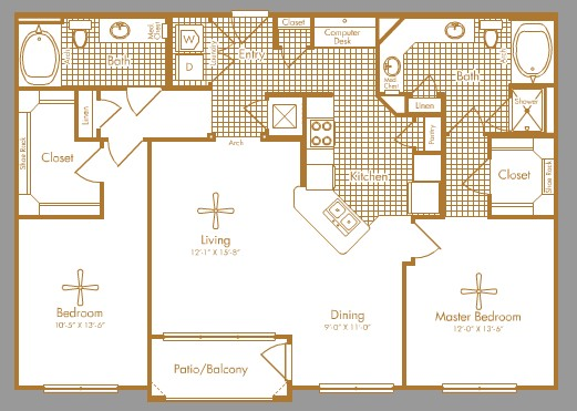 1,296 sq. ft. BRAESMAN floor plan