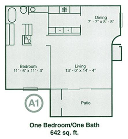 642 sq. ft. floor plan