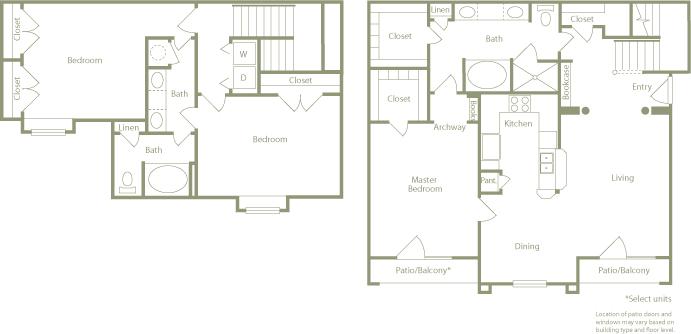1,542 sq. ft. E floor plan