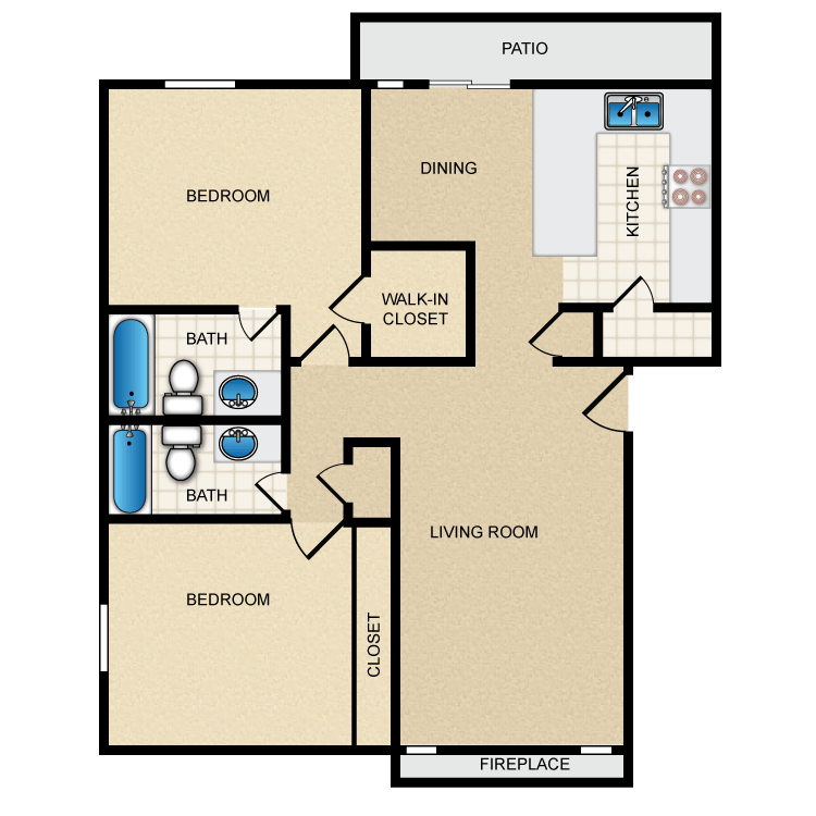 1,029 sq. ft. II-B3 floor plan