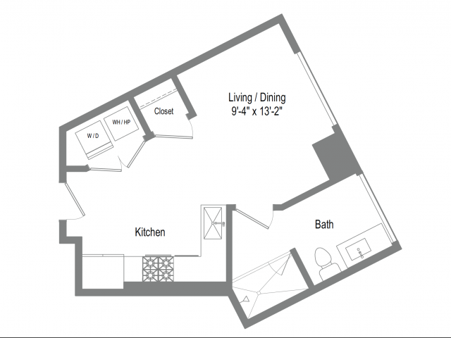 448 sq. ft. S1 floor plan