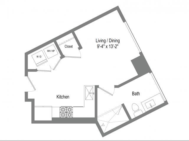 448 sq. ft. S1 floor plan