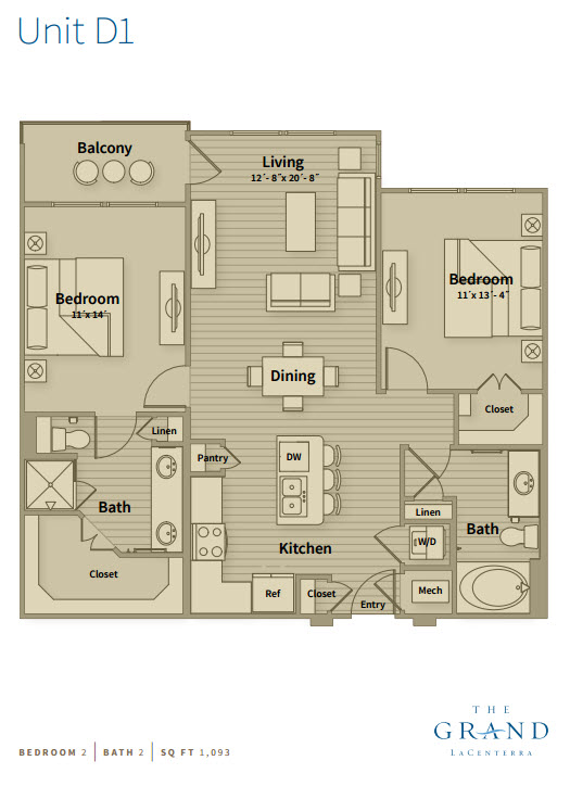 1,093 sq. ft. D1 floor plan