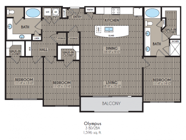 1,596 sq. ft. Olympus floor plan