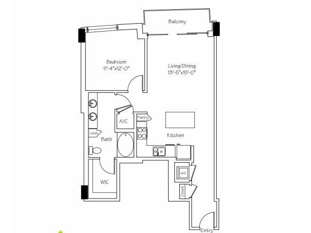 848 sq. ft. A5 floor plan