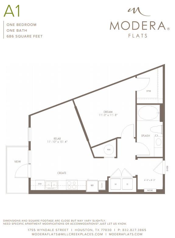 686 sq. ft. A1 floor plan