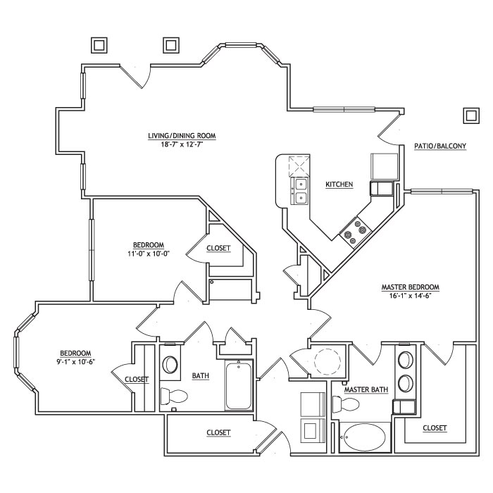 1,388 sq. ft. CC1G floor plan