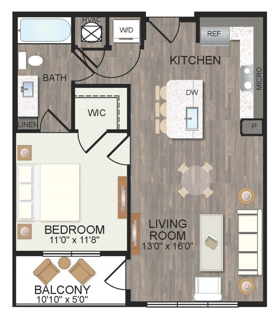 723 sq. ft. Jasmine floor plan