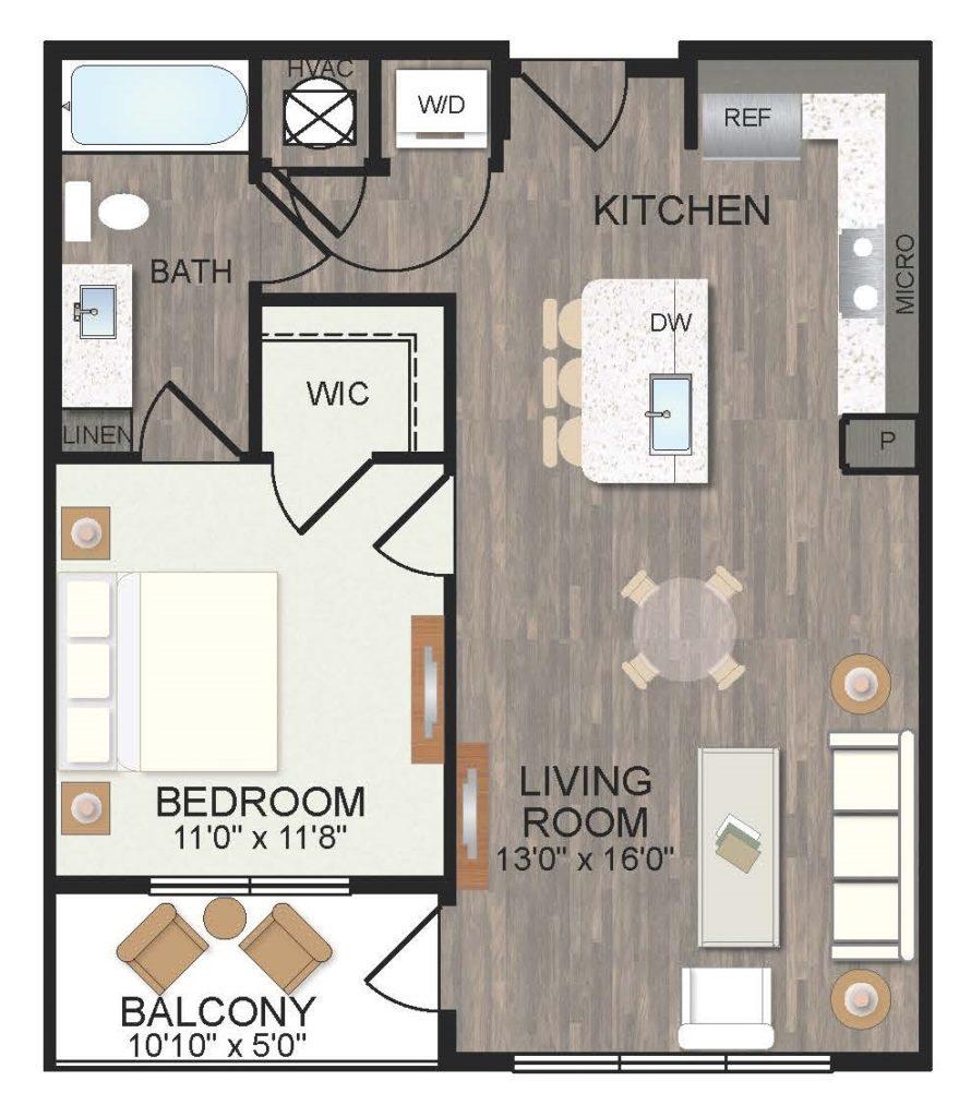 723 sq. ft. Jasmine floor plan