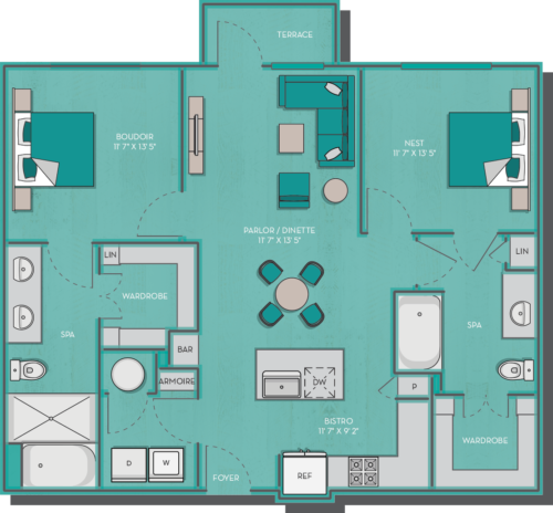 1,025 sq. ft. to 1,102 sq. ft. Fiji floor plan