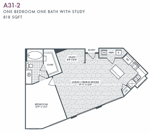 818 sq. ft. A31S-2 floor plan