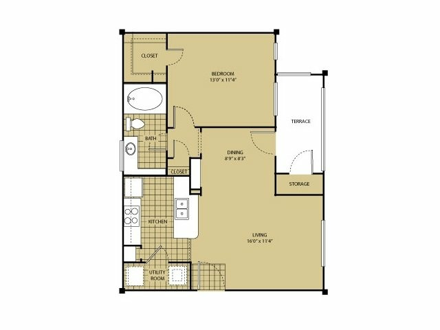 681 sq. ft. A1 floor plan