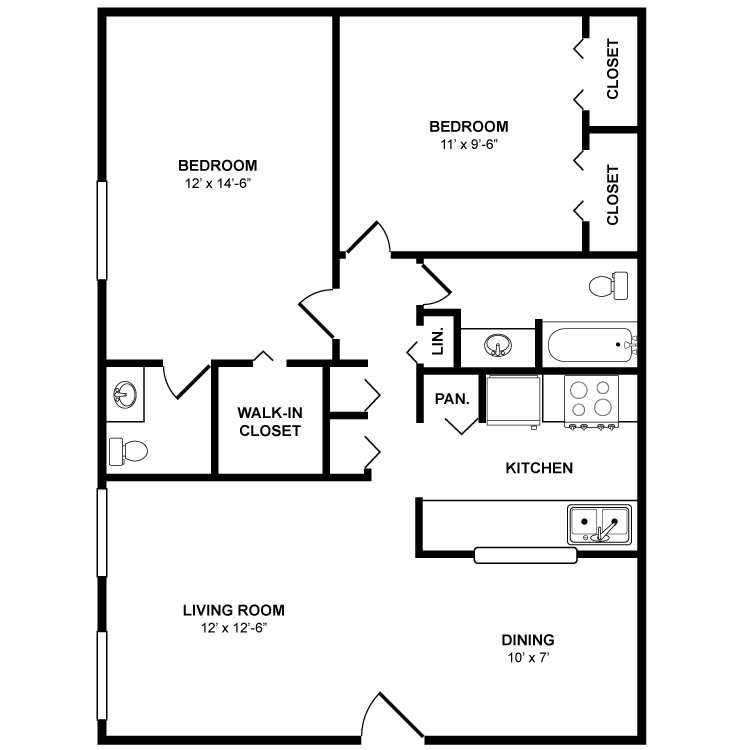 903 sq. ft. Willow floor plan