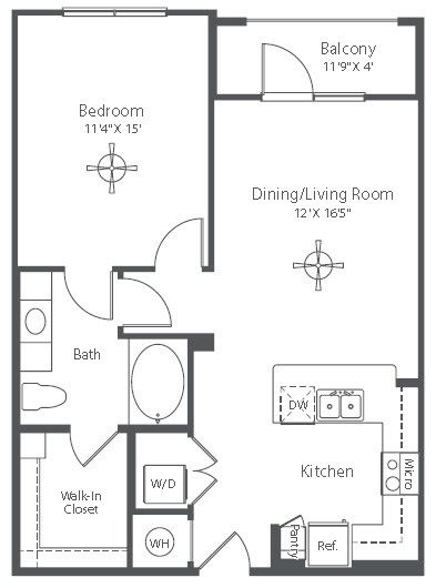 747 sq. ft. to 754 sq. ft. A7 floor plan