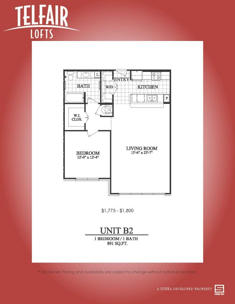 797 sq. ft. B1.1 floor plan