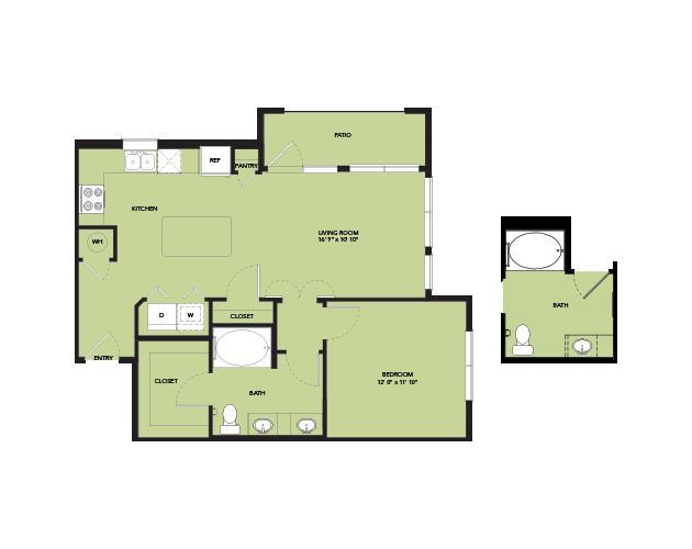 770 sq. ft. A4.2 floor plan