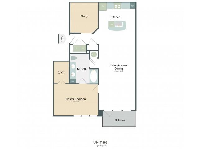 1,150 sq. ft. B8 floor plan