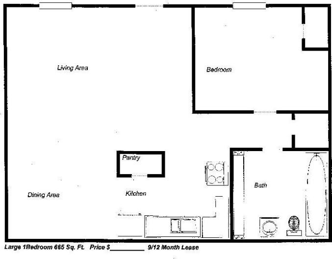 665 sq. ft. floor plan